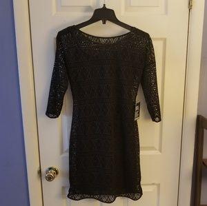 EXPRESS Crochet Dress in Black